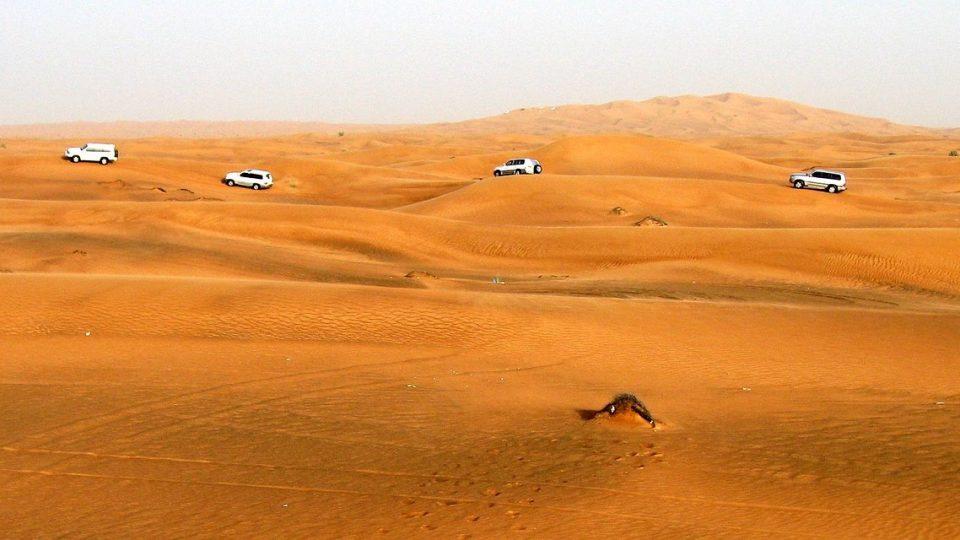 Jeeps in Dubai desert