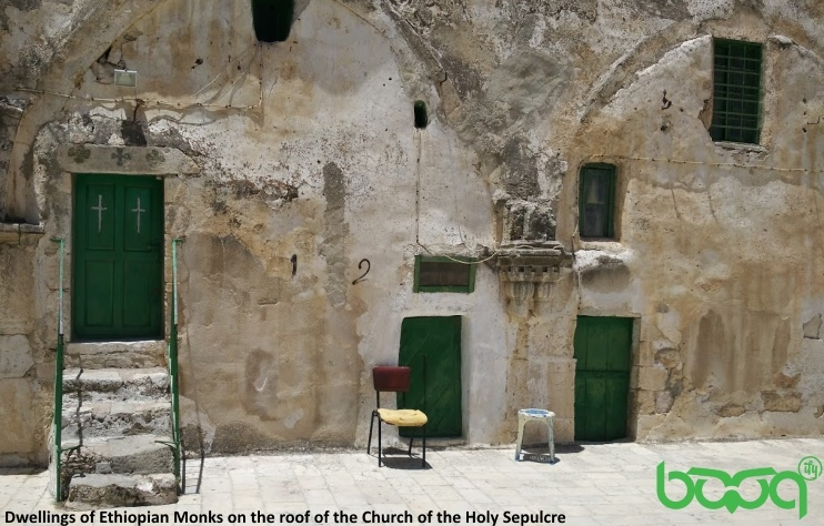 Ethiopian monks dwellings on roof of Holy Sepulcher church